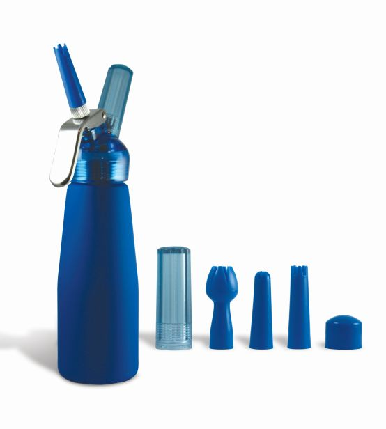 Blue Suede 1 Pint Whip Cream Dispenser with Chargers