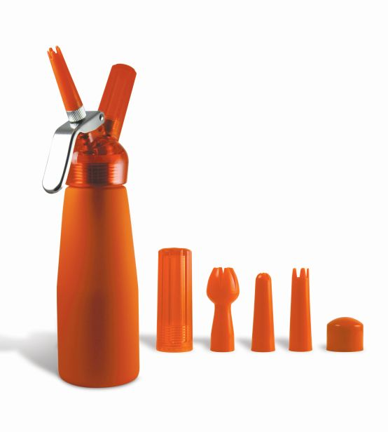 Orange Suede 1 Pint Whip Cream Dispenser with Chargers
