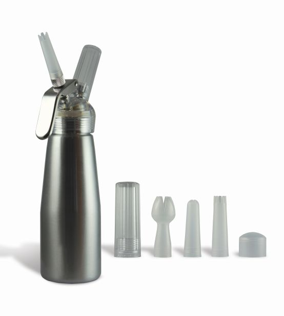 Silver Suede 1 Pint Whip Cream Dispenser with Chargers