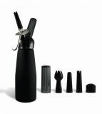 Black Suede 1 Pint Whip Cream Dispenser with Chargers