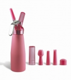 Pink Suede 1 Pint Whip Cream Dispenser with Chargers