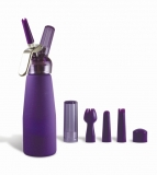 Purple Suede 1 Pint Whip Cream Dispenser with Chargers